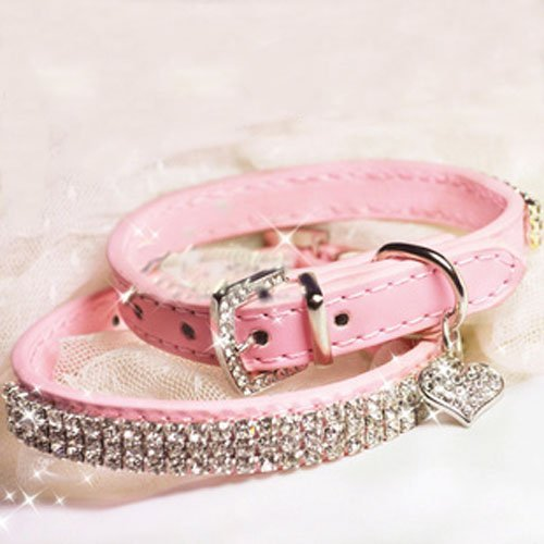 SKL Hot Pink Pet Collar with Sparkly Rhinestones for Cats or Dogs (7.87