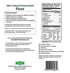 Crunchy Delicious Peas - All Natural Freeze Dried Peas Snack 100 Peas Paleo Gmo Free Gluten-free No Added Sugar No Preservatives Healthy Snack For Children And Adults by BioTree Naturals