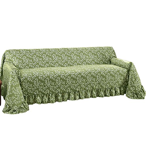 Leaf Design Furniture Cover with Ruffled Border, Sage Green, Sofa (Cover Sofa compare prices)