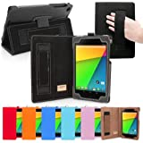 Snugg Nexus 7 2 FHD Case - Smart Cover with Flip Stand & Lifetime Guarantee (Black Leather) for Google Nexus 7 2 FHD (2013)