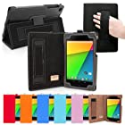 Snugg Nexus 7 2 Case in Black Leather for 2013 2nd Gen with Lifetime Guarantee - Flip Stand Cover with Elastic Hand Strap, Stylus Loop and Premium Nubuck Fibre Interior - Automatically Wakes and Puts the Google Nexus 7 2 to Sleep