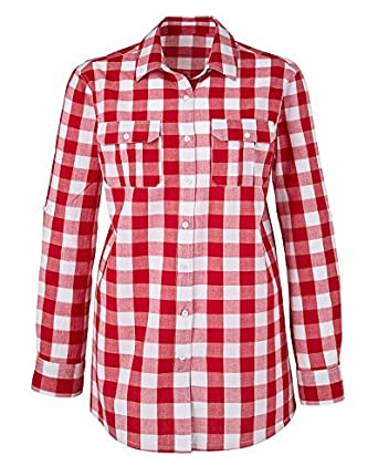 Simply be red white check checked gingham shirt top for Red and white gingham shirt women s