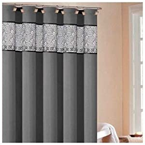 Rania Shower Curtain In Silver Black