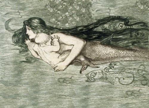 """Little Mermaid Mother With A Baby Fish Ocean Sea 12"""" X 16"""" Image Size Vintage Poster Reproduction We Have Other Sizes Available front-564149"""