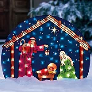 Lighted nativity set christmas outdoor for 30 lighted nativity christmas window silhouette decoration