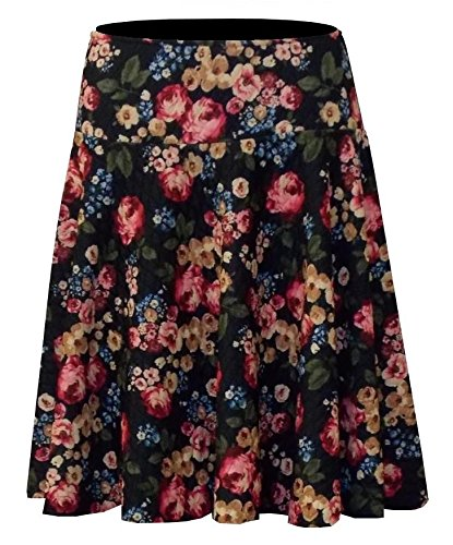 Baby'O Women's Fit and Flare Quilted Knit Floral Skater Mini Skirt Wine Medium (Womens Quilted Mini Skirt compare prices)