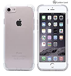 """iPhone 7 Case, Anti Shock Series TPU Back Case for Apple iPhone 7 [4.7 inch] with Air Cushion Technology, Anti Shock Corners, Impact Resistant, Anti Scratch, Flexible, Perfect Fit & Cutouts High Quality Soft Cover for iPhone7 by Golden Sandâ""""¢ [Transparent]"""