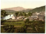 Victorian View of Bridge and Ben Ledi, Callander, Scotland, Large A3 size 41 by 28 cm Canvas Textured Fine Art Paper Photo Print