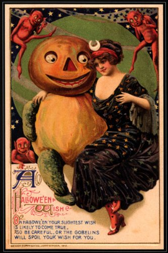 GIRL PUMPKIN RED DEVIL HAPPY HALLOWEEN VINTAGE POSTER REPRO (The Devil Poster compare prices)