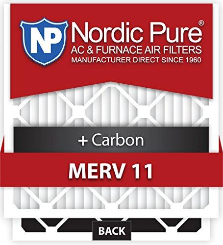 Nordic Pure 16x20x4M11+C-2 MERV 11 Plus Carbon AC Furnace Air Filters, Qty 2