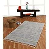 Homescapes Leather Glitter Rug - Natural Grey and Silver - 3 x 5 ftby Homescapes