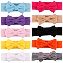 Qandsweet Baby Girl's Headbands and Bows (10 Pack)