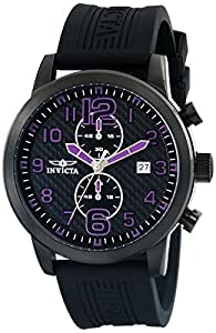 Invicta Men's Quartz Watch with Black Dial Chronograph Display and Black PU Strap 13838