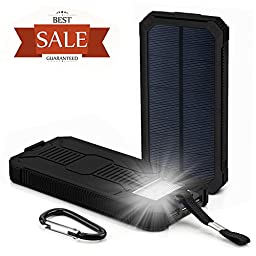 Solar Charger, Grandbeing 15000mAh Solar Power Bank Portable Dual USB Outdoor External Battery Pack for iPhone, Samsung, HTC, Nexus Smartphone, Gopro Camera, GPS and Tablets, Black