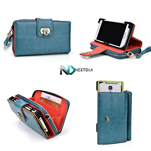 Huawei Ascend D Quad Wristlet Clutch With Sliding Base For Camera Access | Vintage Blue + Women'S Wallet With Credit Card Slots And Kick Stand Function