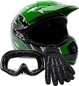 Youth Offroad Gear Combo Helmet Gloves Goggles DOT Motocross ATV Dirt Bike Motorcycle Green Black, Large