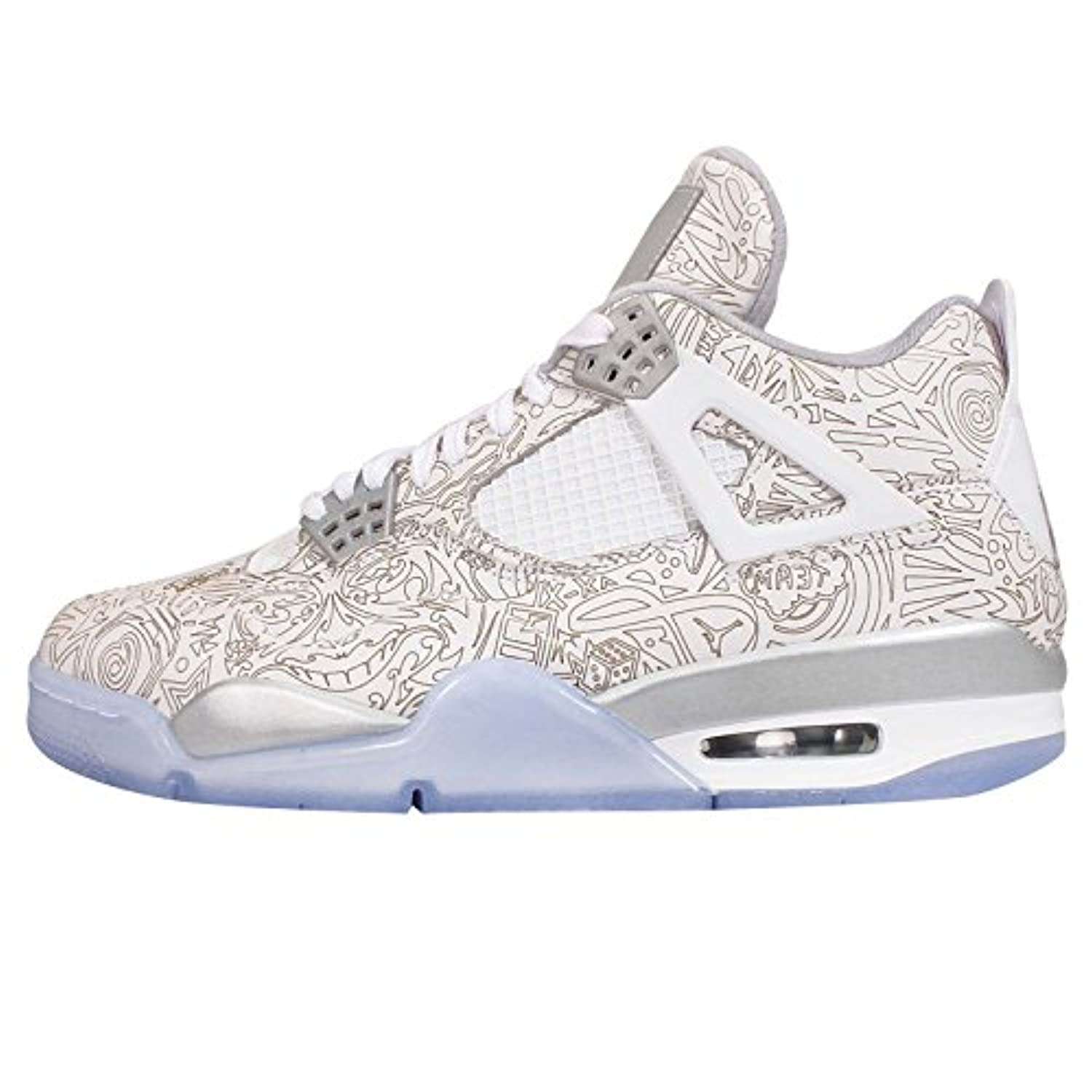 Nike Mens Air Jordan 4 Retro Laser White/Chrome-Metallic Silver Leather Size 12 Basketball Shoes | $290 - Buy today!