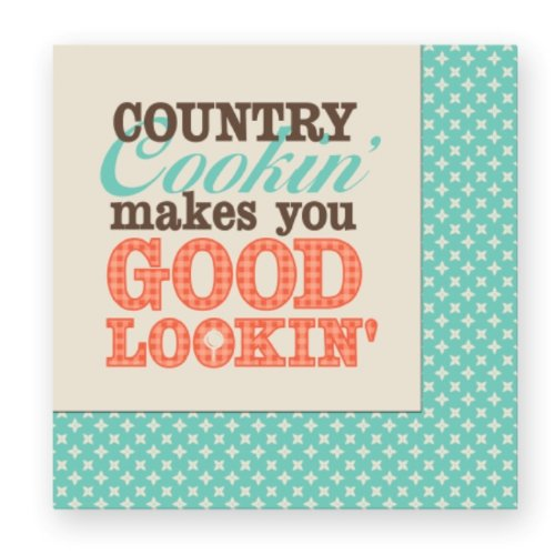 Paula Deen 3-Ply Beverage Napkins, Country Cookin' Makes You Good Lookin', 20-Count Per Package