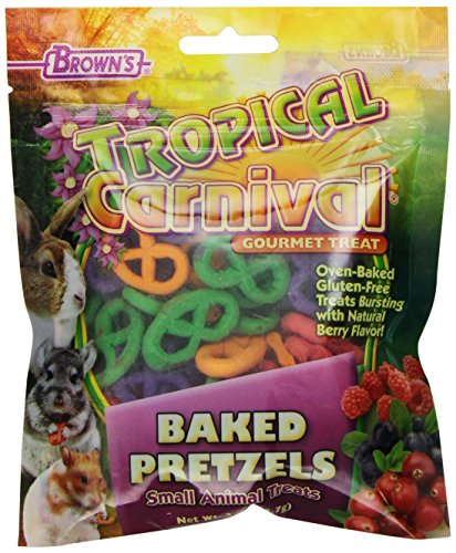 F.M. Brown's Tropical Carnival Baked Pretzels Treat for Small Animals, Gluten Free Chewing Treat for Improved Tooth and Gum Health, 2oz 51bRhNzOcML