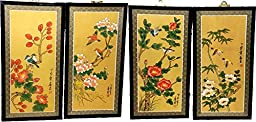 ASIAN SILK PAINTINGS WITH BIRDS AND FLOWERS