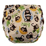 Blueberry Side Snap Simplex All in One Diapers, Monkeys, Medium