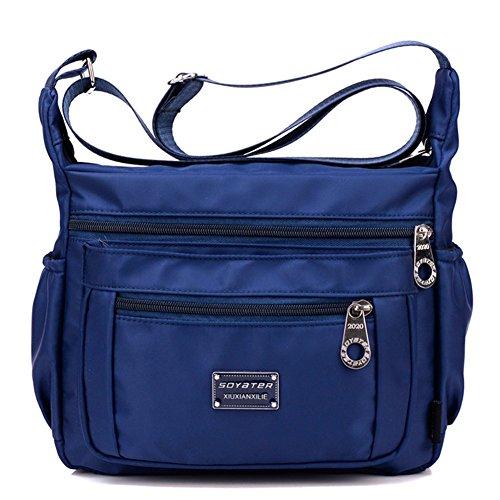 Soyater Nylon Crossbody Handbag With Pockets, Navy Blue (Blue Crossbody Purse compare prices)