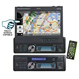 Lanzar SDBT74NV 7-Inch 1xDIN In-Dash Motorized Touchscreen LCD Monitor with DVD/CD/USB/SD/AM/FM/Bluetooth and GPS with USA/Canada/Mexico