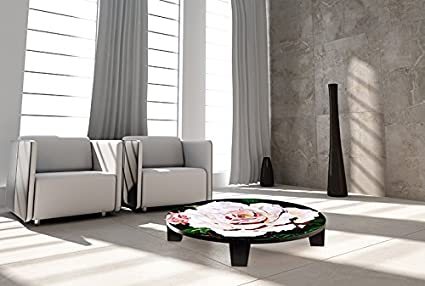 "TAF DECOR ""Coffee Rosetta"" Art Coffee Table, 35"" X 35"" X 7.5"", Multicolored"