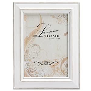 Lawrence Frames Wood Picture Frame, 4 by 6-Inch, Weathered White