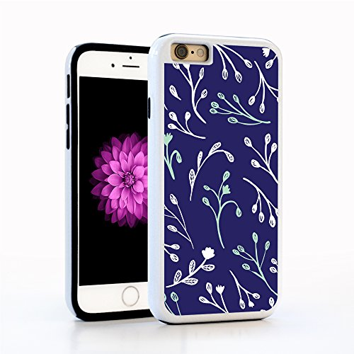 iPhone 6 Case, Botanical Watercolor Leaf Pattern, Tree Branch Pattern leaves in Blue & White on Navy, Impact Resistant White PC with Black Rubber inside. Protective Cover for Apple 4.7-inch