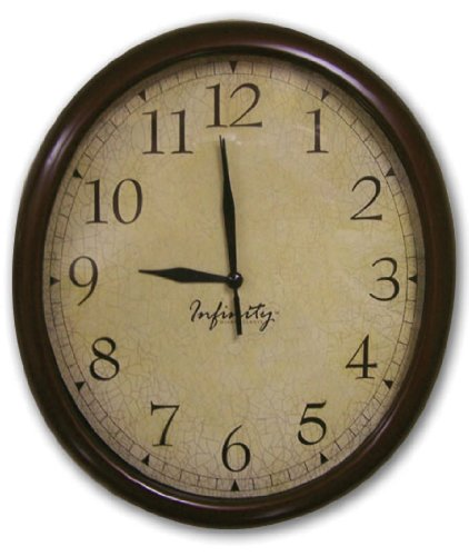ITC (32040TF-CF-DB) Oval Wall Clock with Crackle Face
