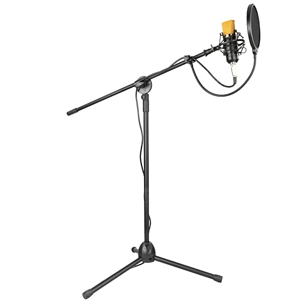 Neewer Condenser Microphone and Accessory Kit for Studio Broadcasting Recording: NW-700 Condenser Microphone, NW-107 Mic Tripod Stand with Boom, Shock Mount, NW-3 Pop Filter, Foam Cap and Audio Cable