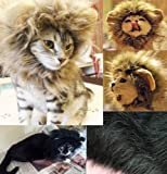 Generic Pet Costume Lion Mane Wig for Cat Christmas Xmas Santa Halloween Clothes Festival Fancy Dress up (Black, XS)