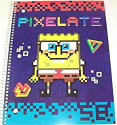 Staples Wide Ruled Spiral Notebook Spongebob Squarepants Pixelate (8 x 10.5; 70 Sheets, 140 Page