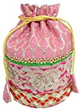 GiftPiper Embroidered Stone Work Potli-Light Pink