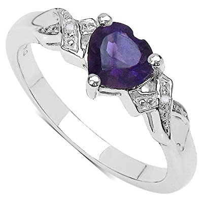The Amethyst Ring Collection: Silver Amethyst 1.00CT Heart Engagement Ring with Diamond Shoulders