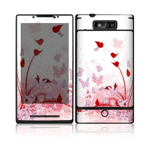 Pink Butterfly Fantasy Design Decorative Skin Cover Decal Sticker for Motorola Droid Triumph Cell Phone