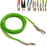 Green 3.5mmto 3.5mm Stereo Car Audio Jack To Jack Tangle Free AUX Auxilliary Cable Lead For MICROMAX CANVAS MAGNUS...