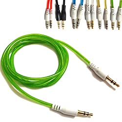Green 3.5mmto 3.5mm Stereo Car Audio Jack To Jack Tangle Free AUX Auxilliary Cable Lead For KARBONN TITANIUM S9 Mobile Cellular Cell Phone