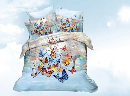 A-Product Butterfly Series 4-Piece Cotton Bedding Sets, 3D Oil Painting Duvet Cover Set (10) front-475808