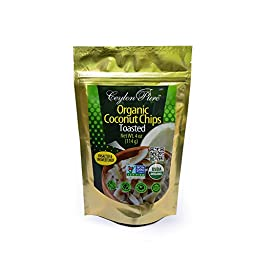 Ceylon Pure Organic Coconut Chips, Toasted, 4 Ounce