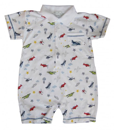Kissy Kissy Baby Aviators Print Short Playsuit With Collar- 12-18 Months front-969124