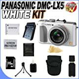 Panasonic Lumix DMC-LX5 10.1MP Digital Camera White + 16GB SDHC Memory + Extended Life BCJ13 Battery + Ac/Dc Rapid Charger + Deluxe Case + USB Card Reader + Memory Card Wallet + Accessory Saver Bundle!
