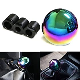 iJDMTOY JDM Neo Chrome Round Shift Knob For Both Manual or Automatic, Univesal Fit Honda Acura Mazda Mitsubishi Nissan Infiniti Lexus Toyota Scion