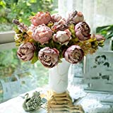 HuntGold 1X Artificial Peony Silk Flowers Bouquet for Wedding Party Bouquet Decoration(cameo)