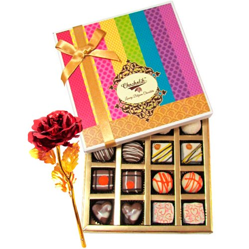 Sweet Sensation Of Dark And White Truffles And Chocolate Box With 24k Red Gold Rose - Chocholik Belgium Chocolates