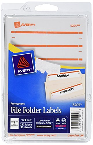 Avery Print or Write File Folder Labels for Laser and Inkjet Printers, 1/3 Cut, Pack of 252 (5205)