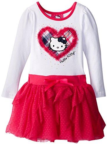 Hello Kitty Little Girls' Long Sleeve Tulle Dress, White, 6X front-891898