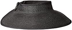 TAUT Women's Roll up Wide Brim Straw Hat Visor with Bow,Black