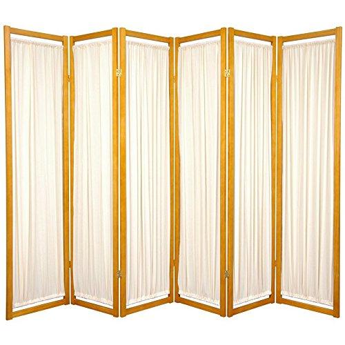 Oriental Furniture Modern Furniture, 6-Feet Helsinki Fabric Japanese Privacy Screen Room Divider, 6 Panel Honey